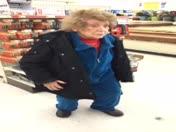 my 101 great grandmother facing. at a supermarket at 11 pm at night