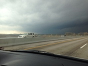 Driving into storm near Lawrence