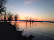 Sun rise flooded Lake Champlain