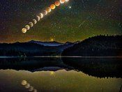 Blood Moon Rising over Lake Selmac in the Illinois Valley, Oregon by Jasman Lion