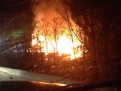 a barn on fire