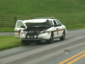 Wrecked State Police Car