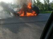car fire on i35 north