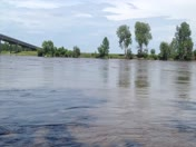 Missouri River is at top of banks in Rulo, NE