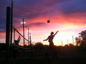 Sand volleyball on a summer night