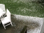 Hail from latest storm through...