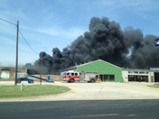 Tire shop on fire