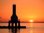 Sunrise fishing, at the Port Washington Harbor, 9/8