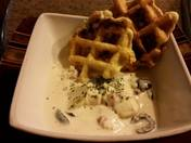 Green Chile Cod Chowder with Green Chile Waffle Green Tomatoes