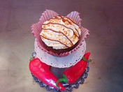 Rojo Cocoa Bombs - Red Chile Chocolate Cupcake with Crema Mexicana Cream Cheese