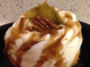 Delicious Green Chile -Pecan Caramel Cupcakes w/ Whipped Green Chile Topping