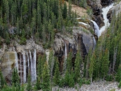 Waterfalls on the Mountain - Columbia Icefields
