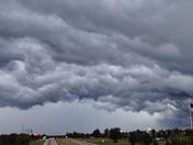 crazy storm clouds off I-49