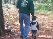 Zach and Papa taking a walk