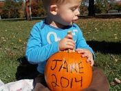 Jake having a great time at the park with his pumpkin