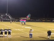 Game ball delivered by parachute at Hanna / Westside football game