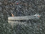 Man fishing during Maine Snowstorm