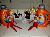 Elf on the shelf doing their laundry :)