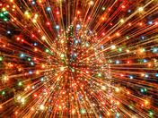 Zooming Christmas tree lights.