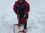 Jacob Harnish ready to help Daddy shovel