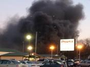 Fire behind Speedys Bbq around 5:30