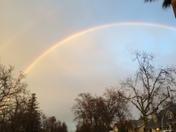 rainbow right before sunset