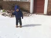 Teddy enjoying his first snow!