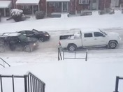 Cars stuck on cooks lane from snow