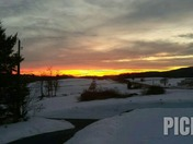 Snowy Sunset in Lancaster County