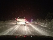 ICY Roads on Highway 371. Photo taken near Crownpoint, NM