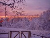 Sunset in winter wonderland