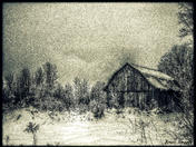 Old barn in the winter