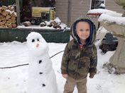 Riffany Adair -- Kid Riley Hugh With Snowman