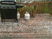 Hail in Dakota City, Iowa