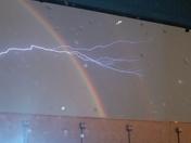 rainbow with lightining