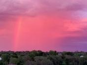 Rainbow with pink sky