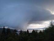 Funnel cloud over Rangeley Lake.
