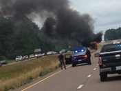 18 wheeler on fire