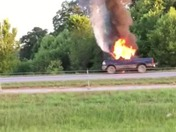 Truck on fire on Hwy 412 east of Siloam Springs