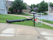 basketball hoop fell down due to bad weather