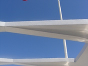 US Flag over USS Arizona Memorial