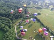 Snowflake Lodge Balloon Festive Drone Footage