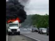 Truck on fire, Highway 290W after the Boylston exit