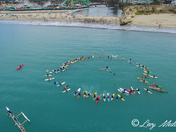 Drone view of San Lorenzo Rivermouth paddle-out