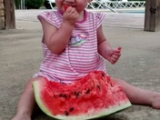 Gracelynn eating her watermelon!