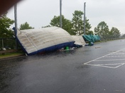 Patriots training camp  fan zone after today's thunderstorm  around 3pm