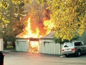 Garage fire at Hidden Oaks Monday evening (17th)