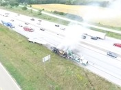 Drone video of truck fire on i-80