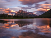 Sunset clouds over Mount Rundle and Vermillion Lakes