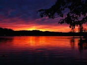 Sunsets over Norway Lake in Norway, Maine